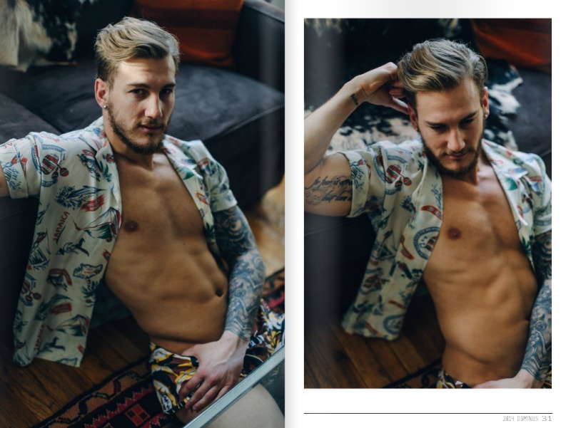 Photography by Menelik Puryear, modeling gorgeous Sam Wiles fo Dominus Magazine, hair by Rob and Creative Director by Kai Jankovic
