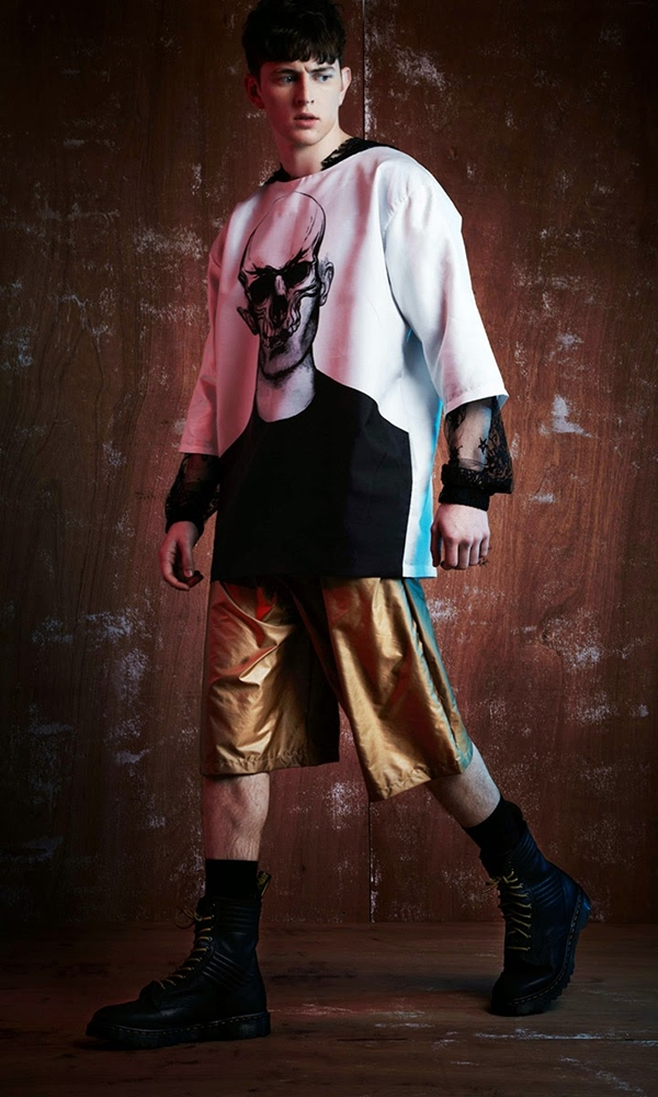 Joseph Turvey released its Fall/Winter 2015 Mens Lookbook. Fascinating by his illustrations as the basis for his prints, however this season pushes them into the noir. Cult horror inspiration transpires into illustrations of skulls, wolves and dark floral motifs; the illustrations are then digitally printed onto silk twills and cottons and then replicated in patch work embroiderers. Modeling Michael Morgan, shot by Damien Fry and styling by Sam Carder.
