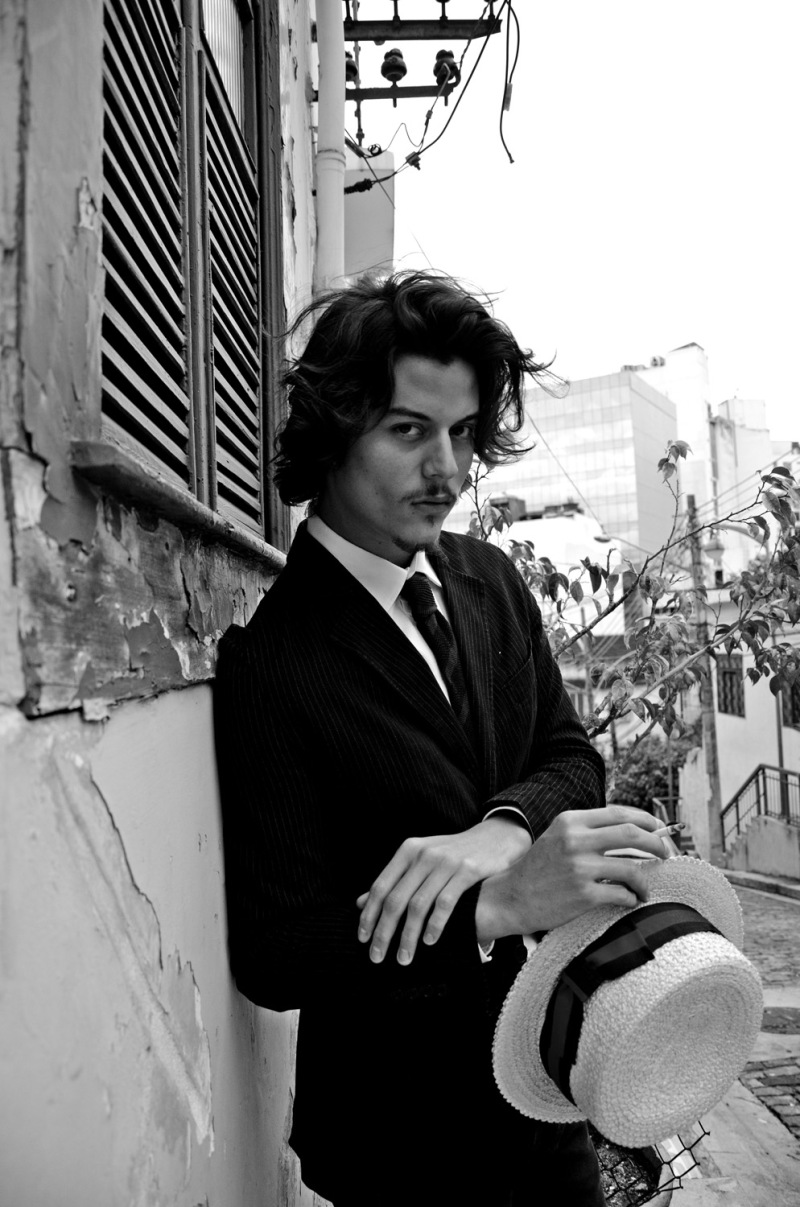 "No he's not Johnny Depp! Surprising by it in how much he's look-a-like a healthier version of Depp, he's Felipe Fabrizzi a young Brazilian male model represented by 40 Graus Models playing ""The Vintage Malandro""  a work in exclusive for Fashionably Male by Felipe Pilotto. Style: Fine and Dandy NY"